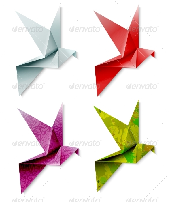 GraphicRiver Set of Colorful Origami Birds 7061860