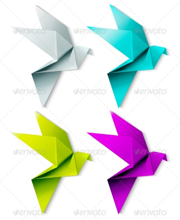 GraphicRiver Set of Colorful Origami Birds 7061864