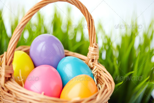 Eggs in basket - Stock Photo - Images