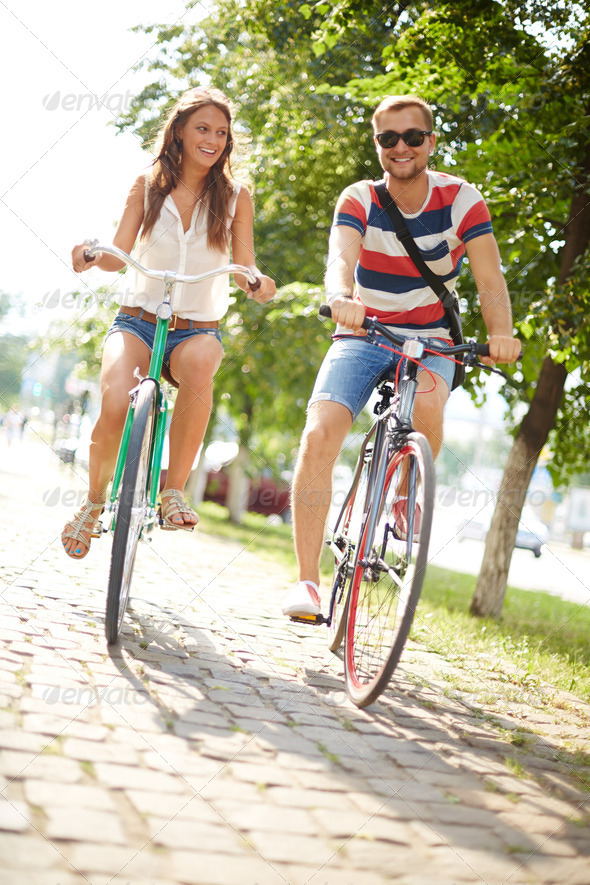 Cycling in the park - Stock Photo - Images