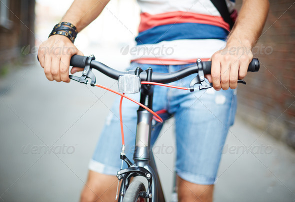 Bicycle and its owner - Stock Photo - Images