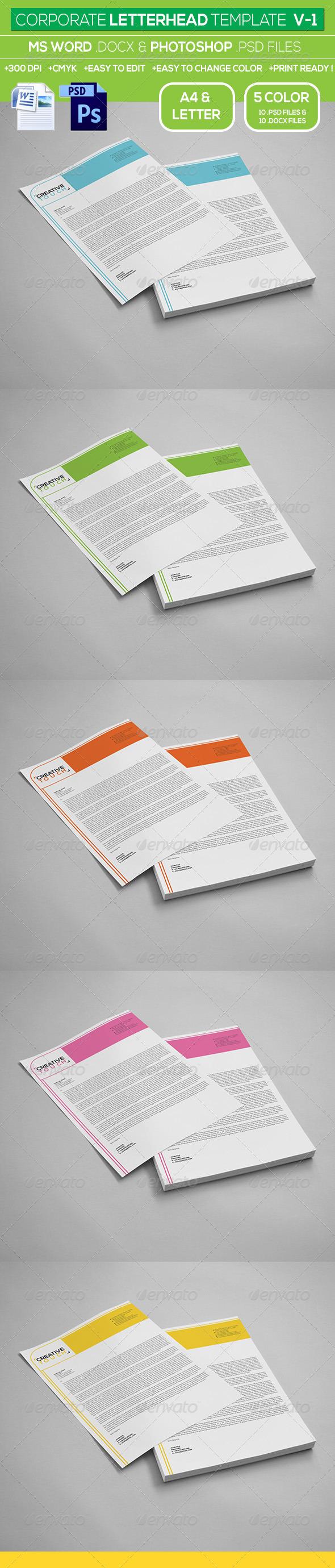 GraphicRiver Corporate Letterhead Template V-1 7062502