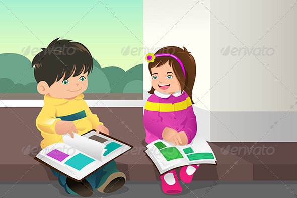 GraphicRiver Kids Reading a Book 7062943