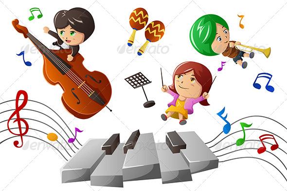 GraphicRiver Kids Enjoying Playing Music 7063051