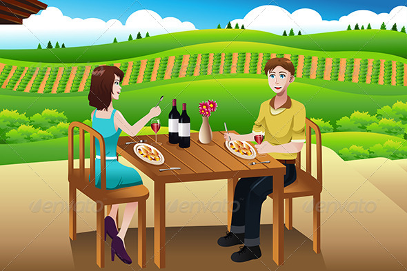 GraphicRiver Couple Eating Lunch Picnic at a Winery 7063055