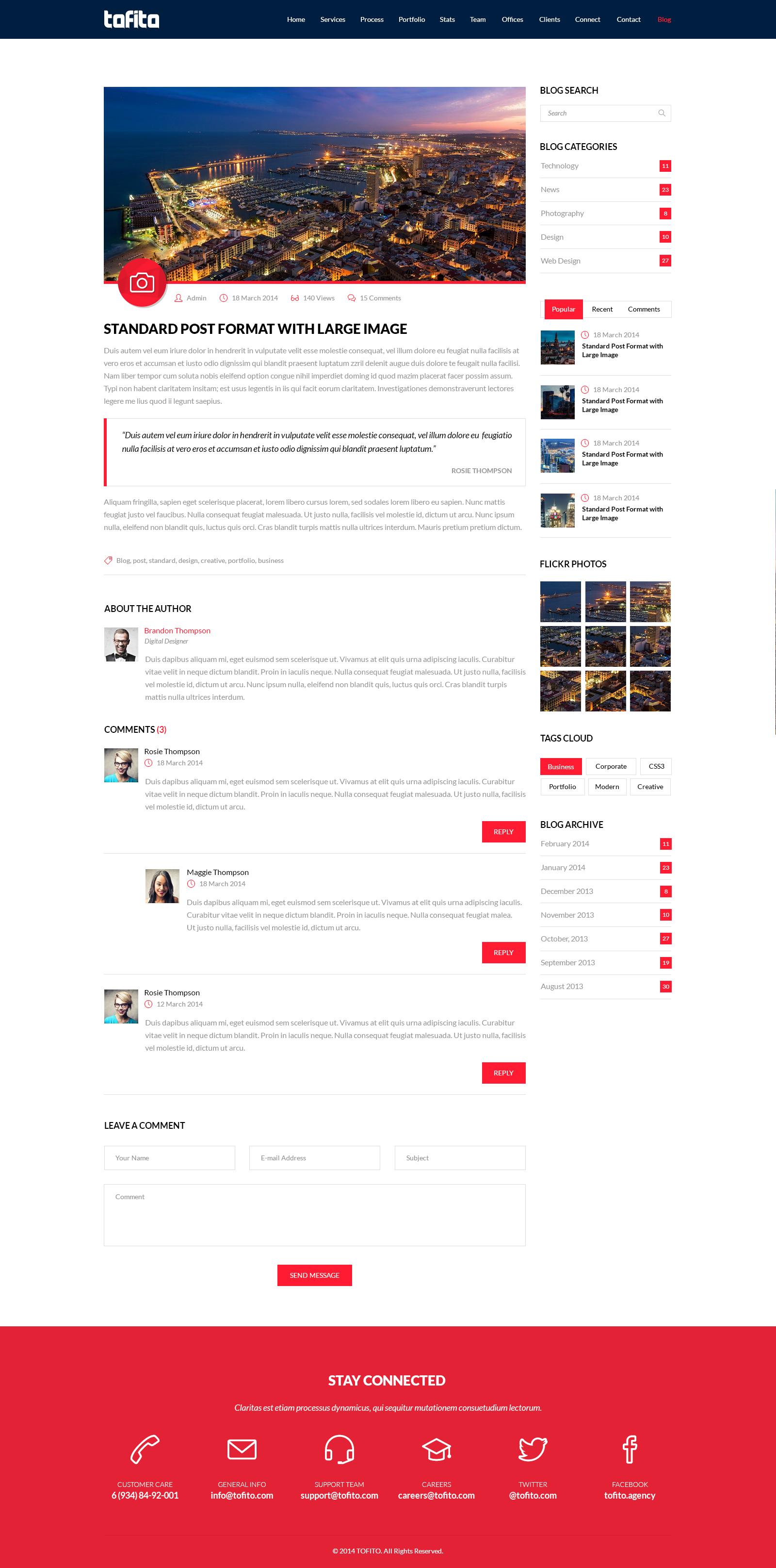TOFITO - One Page Business Portfolio PSD Template
