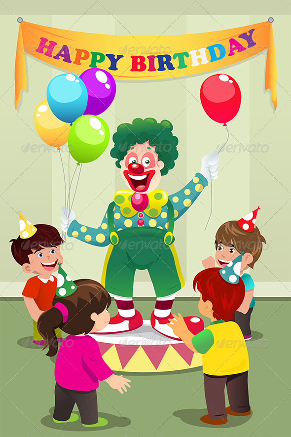 GraphicRiver Clown Carrying Balloons to Kids Birthday Party 7063151