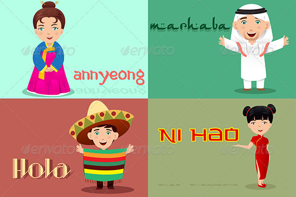 GraphicRiver People from Different Cultures Saying Hello 7063165