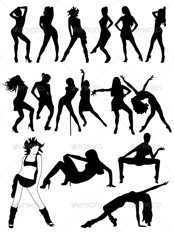 GraphicRiver Set of Silhouettes of Dancing Girls 7063167
