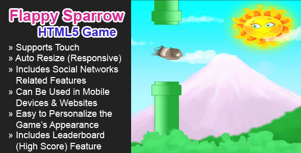 CodeCanyon Flappy Sparrow HTML5 Game 7063266
