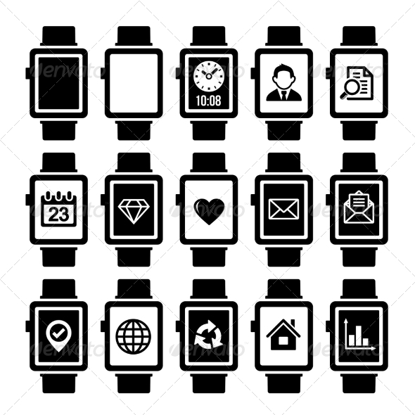 GraphicRiver Smart Watch Icon Set 7063321