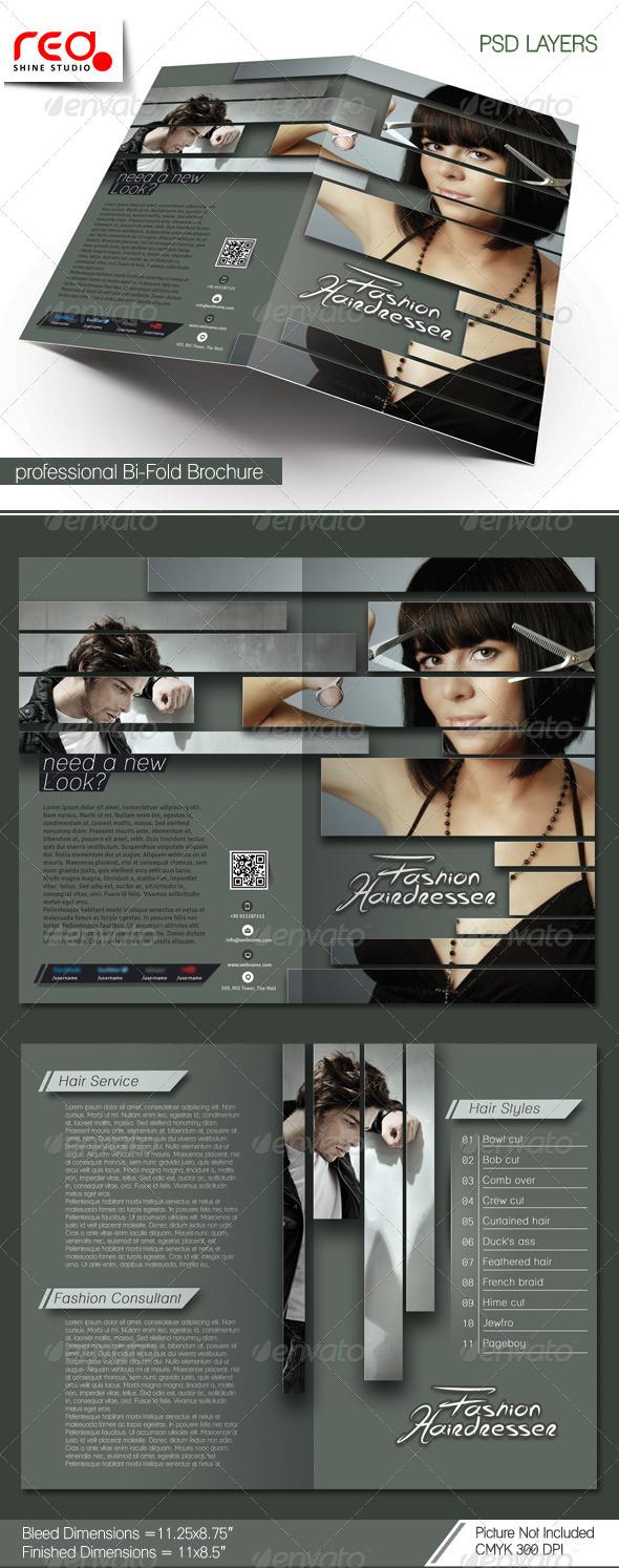 GraphicRiver Hairdresser Salon Bi-fold Brochure Template 7042593