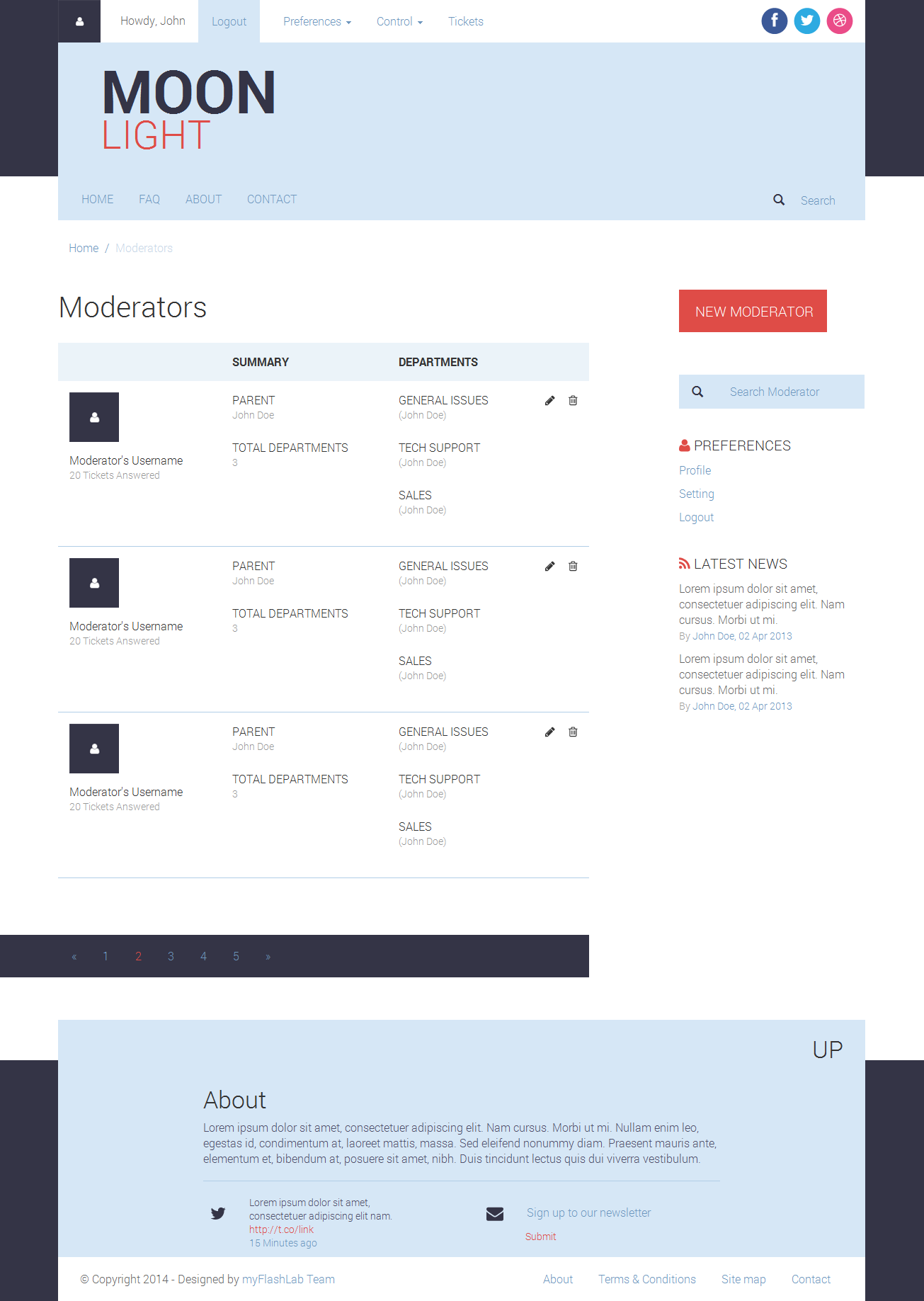 MoonLight Bootstrap Responsive Forum & Helpdesk