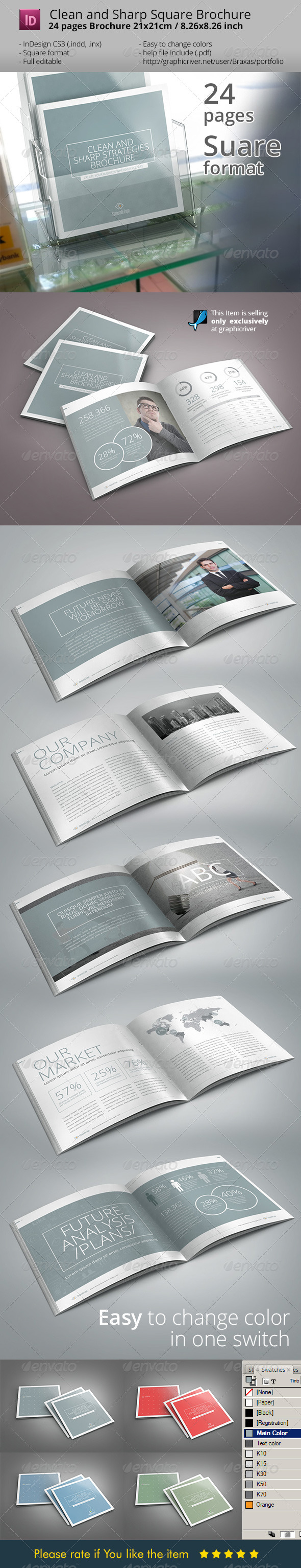 GraphicRiver Sharp and Clean Square Indesign Brochure Template 7063884