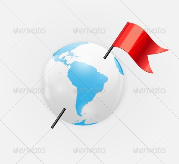 Earth Icon with Red Flag