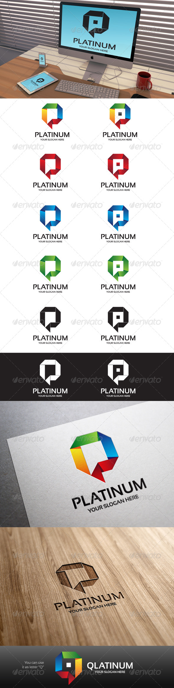GraphicRiver Platinum Letter P Logo Template 7043292