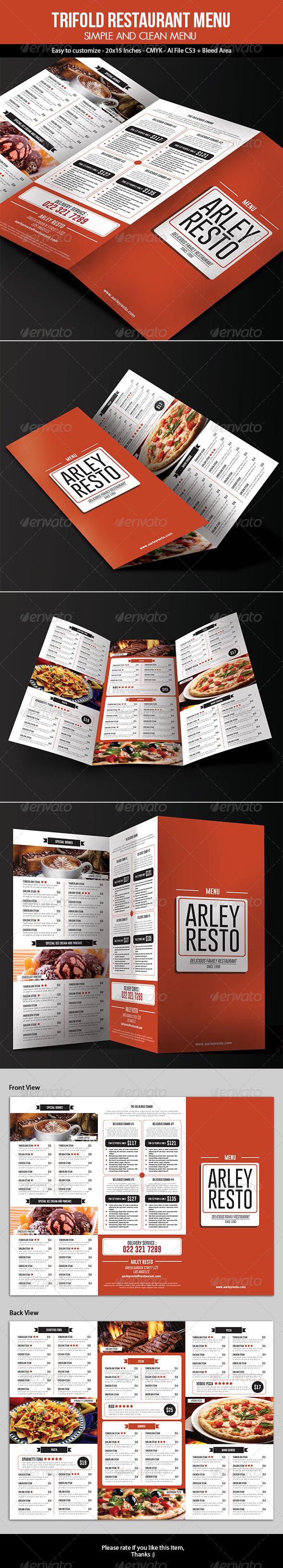 GraphicRiver Trifold Restaurant Menu 7065846
