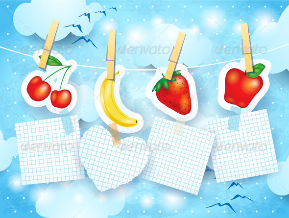 Fruits and Labels on Sky Background
