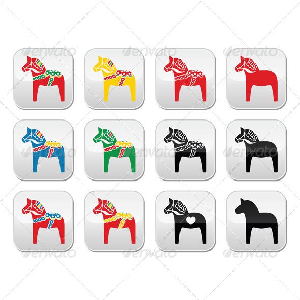 GraphicRiver Swedish Dalecarlian Dala Horse Set 7066394