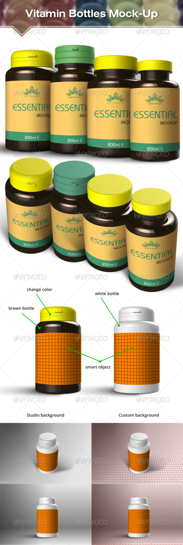 GraphicRiver Vitamin and Pill Bottles Mockup 7066411