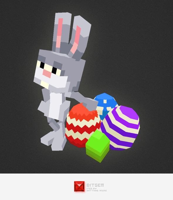3DOcean Low Poly 3D Pixel Rabbit 7066581