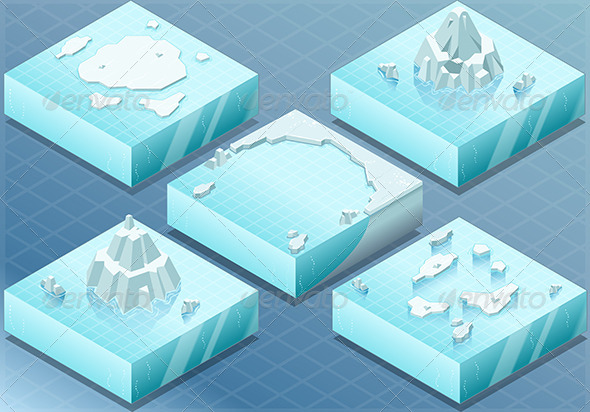 GraphicRiver Isometric Arctic Sea with Iceberg 7066672