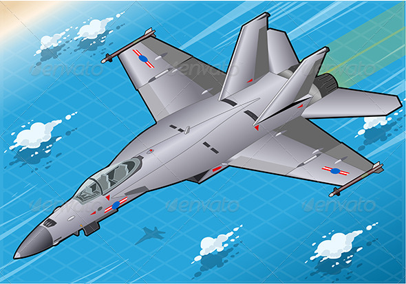 GraphicRiver Isometric Fighter Bomber in Flight in Front View 7066910