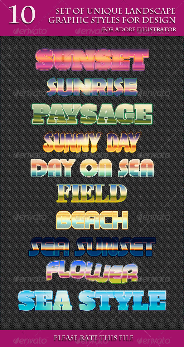GraphicRiver Set of Unique Landscape Graphic Styles for Design 7066988