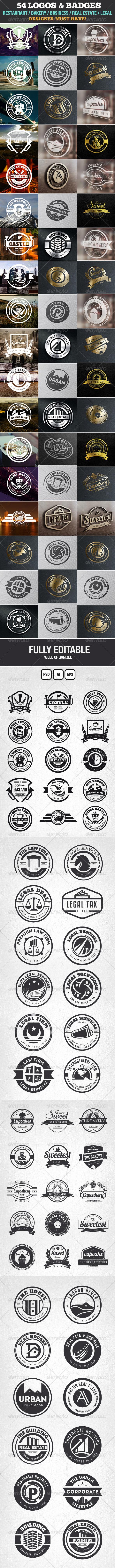 GraphicRiver 54 Logo Templates Badge Insignia Bundle 7067422