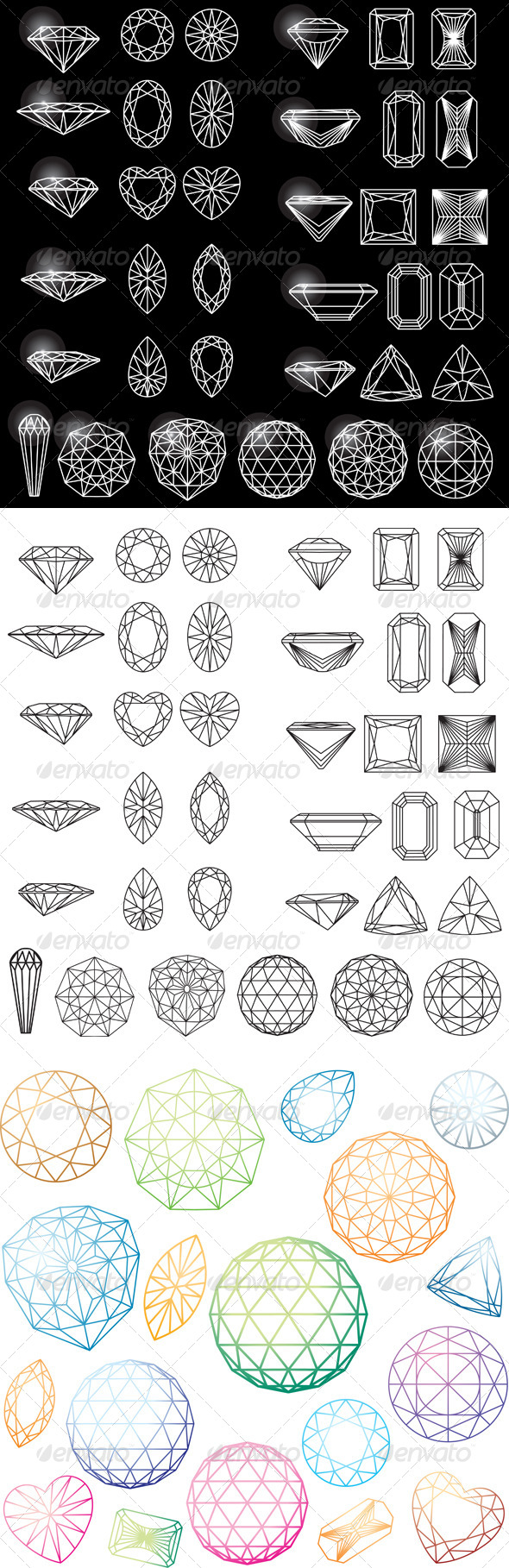 GraphicRiver Set of Shapes of Diamond in Wireframe 7067471