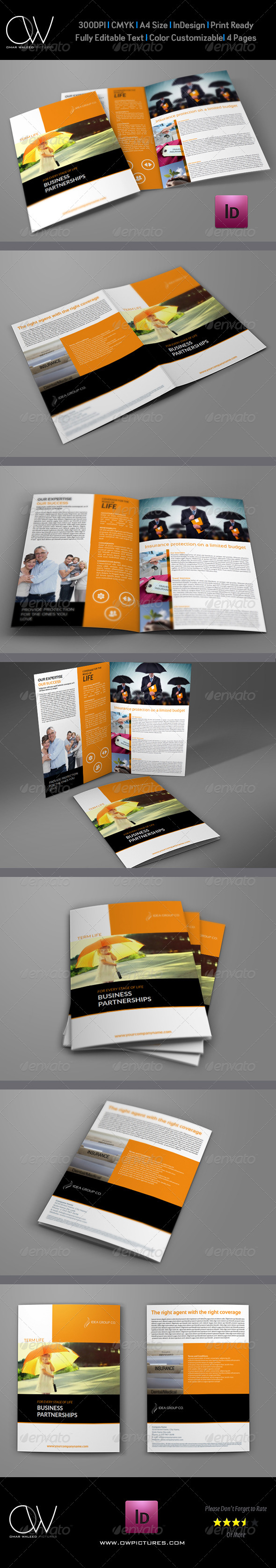 Company Brochure Insurance Bi-Fold Design Template