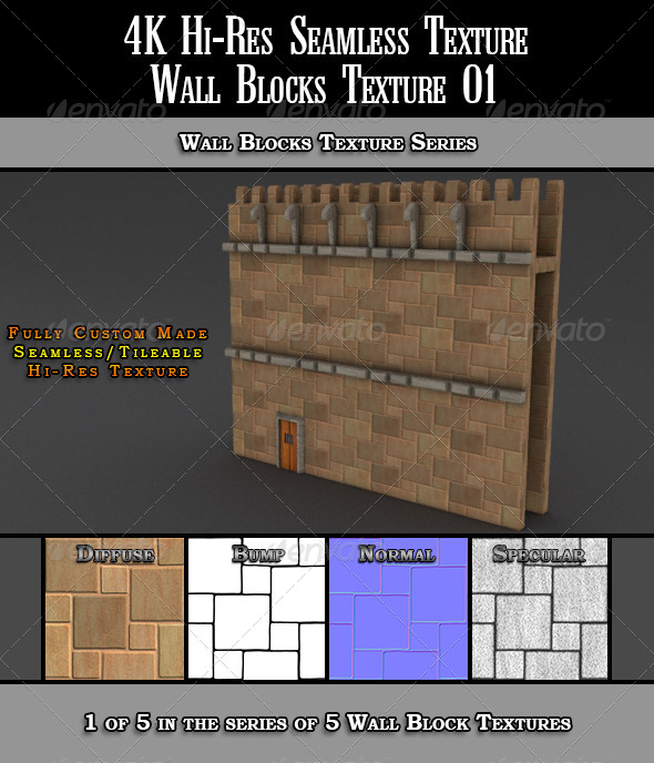 3DOcean Hi-Res 4k Wall Blocks Texture 01 7067526
