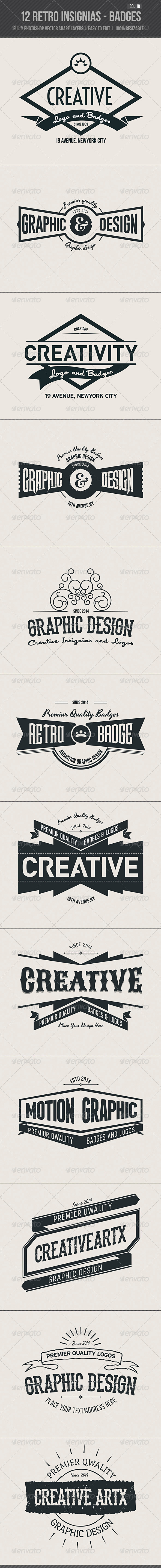 GraphicRiver 12 Retro Insignias Badges 7067640