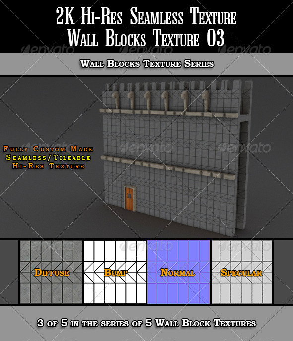 Hi-Res 2k Wall Blocks Texture 03 - 3DOcean Item for Sale