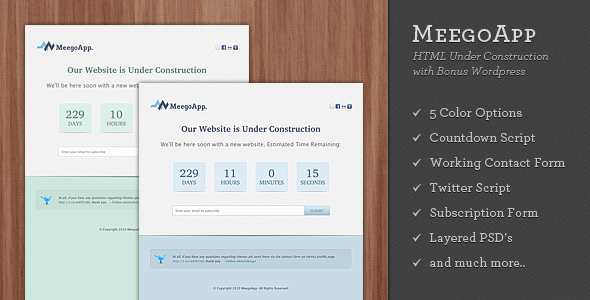 ThemeForest MeegoApp XHTML Under Construction with Bonus WP 153586