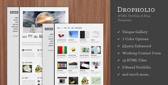 Dropholio - Creative HTML Portfolio & Blog
