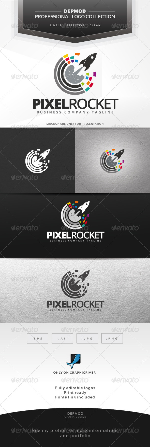 GraphicRiver Pixel Rocket Logo 7067828