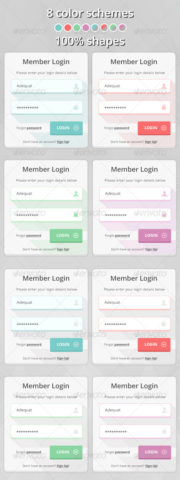 GraphicRiver Flat Simple Login Form 7067974