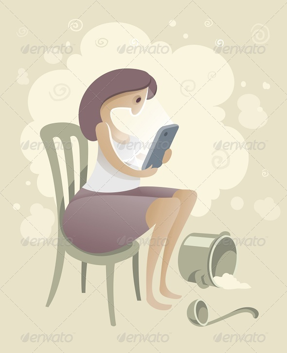 GraphicRiver Woman with Smartphone in the Kitchen 7067980