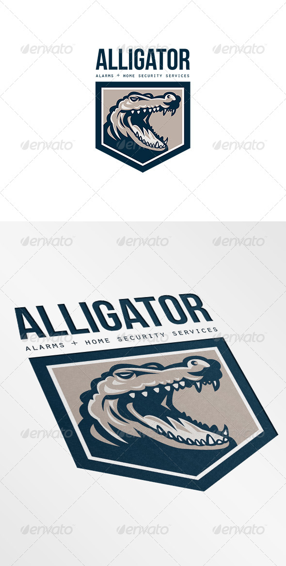 GraphicRiver Alligator Alarms and Home Security Logo 7068020