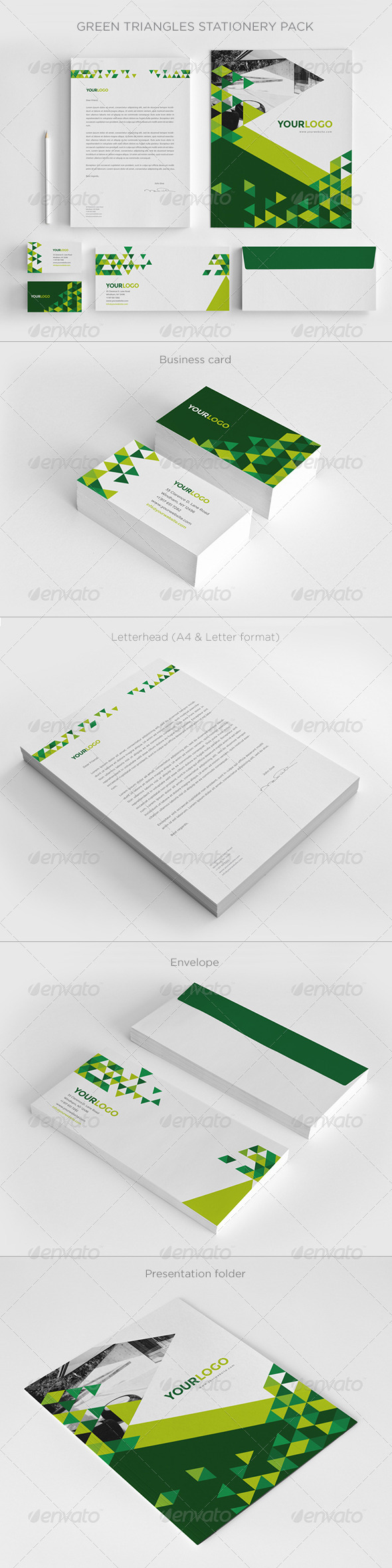 GraphicRiver Green Triangles Stationery 7003619