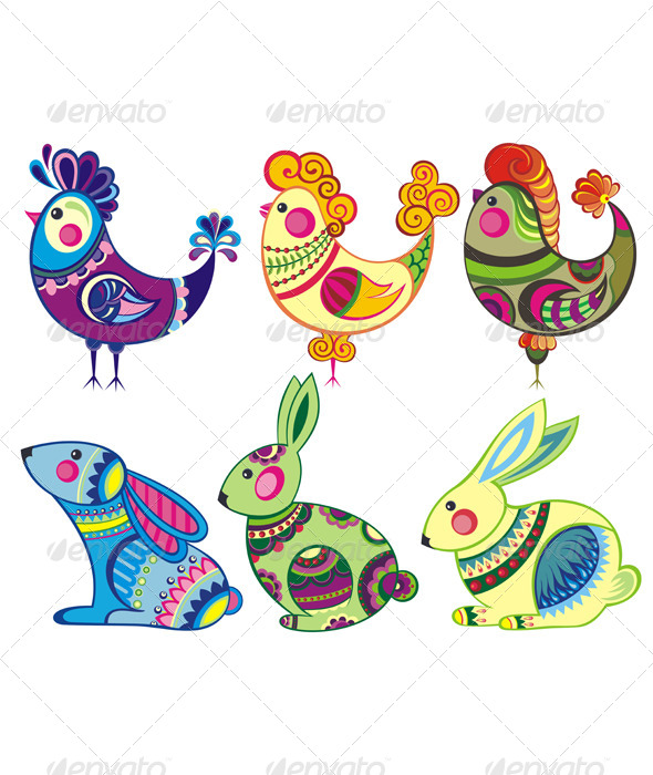 GraphicRiver Easter Rabbits and Chickens 7068178