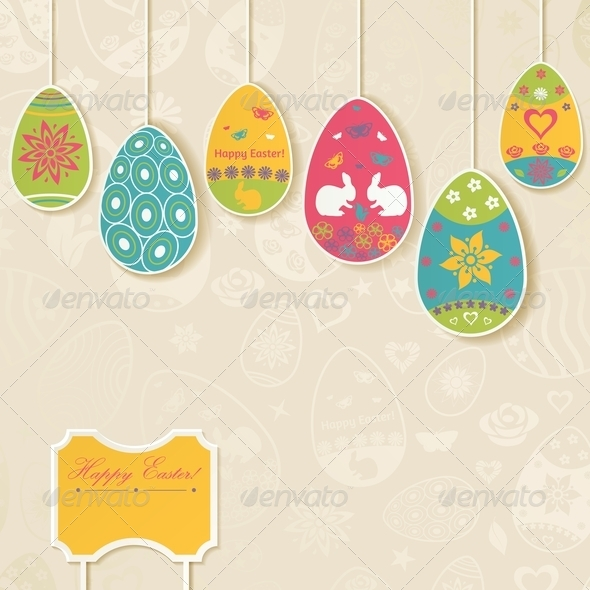 GraphicRiver Easter Background with Eggs Hanging on Ropes 7068219