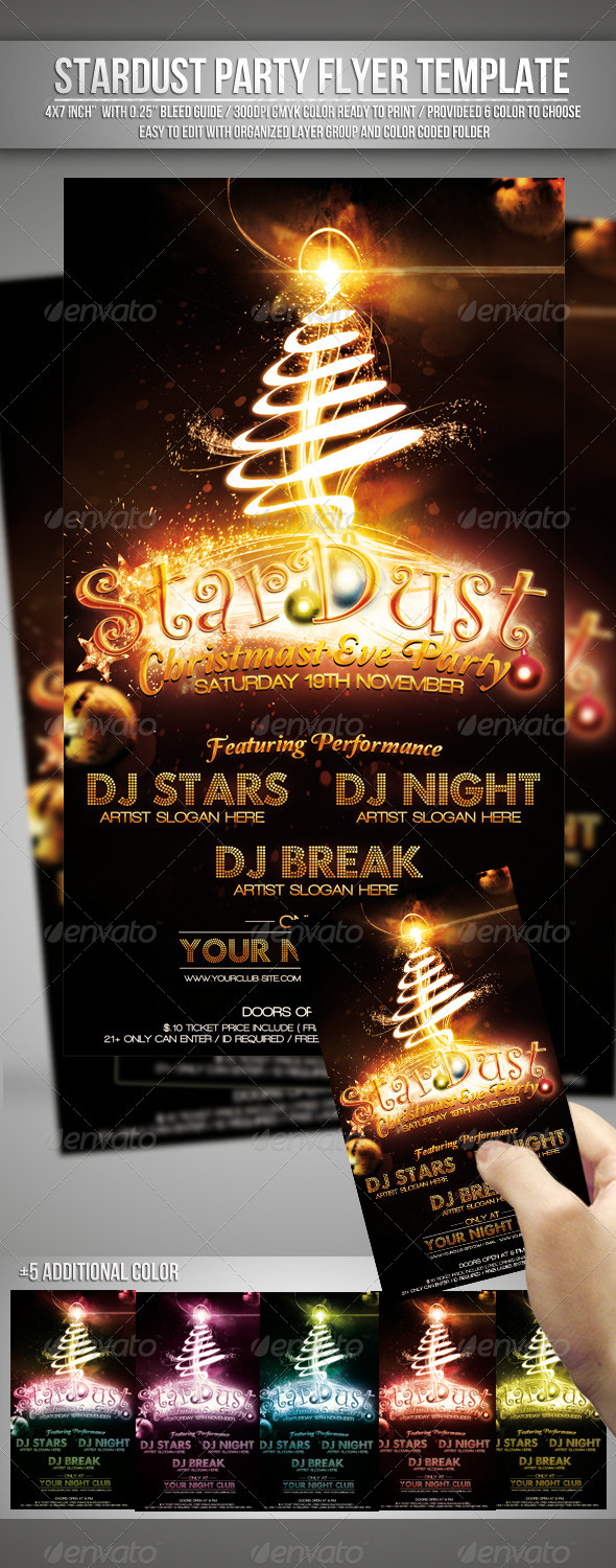 Graphic River Stardust Christmas Eve Party Flyer Template Print Templates -  Flyers  Events  Clubs & Parties 741963