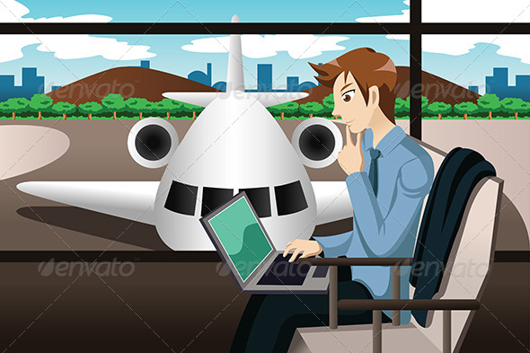 GraphicRiver Business Traveler Waiting in the Airport 7068791
