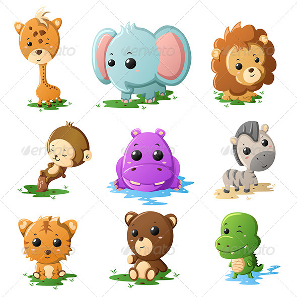 GraphicRiver Cartoon Wildlife Animal Icons 7068830