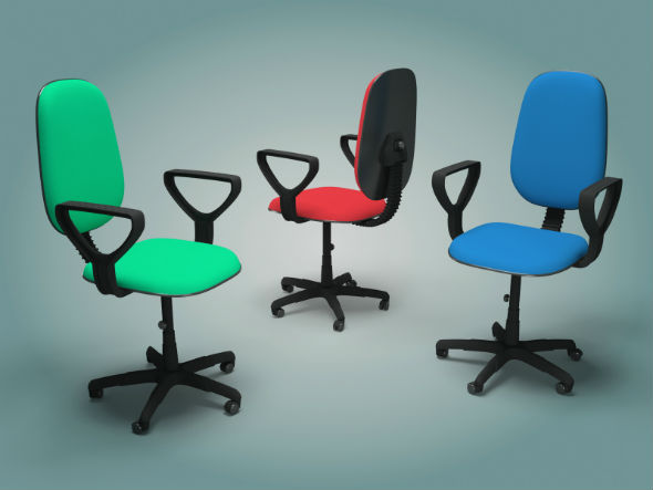 Polygonal model of office chair - 3DOcean Item for Sale