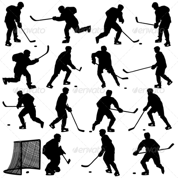 GraphicRiver Set of Silhouettes of Hockey Players 7069131
