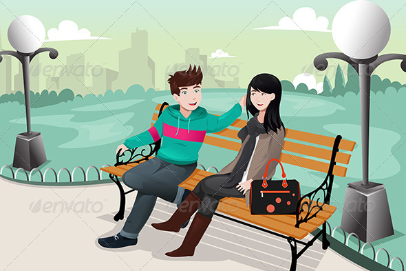 GraphicRiver Romantic Couple in a Park 7069616