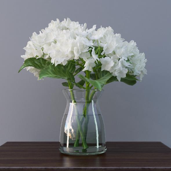 3DOcean Hydrangea Flower In Vase 3D Model 7069954